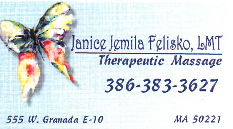 Janices massage therapist business page